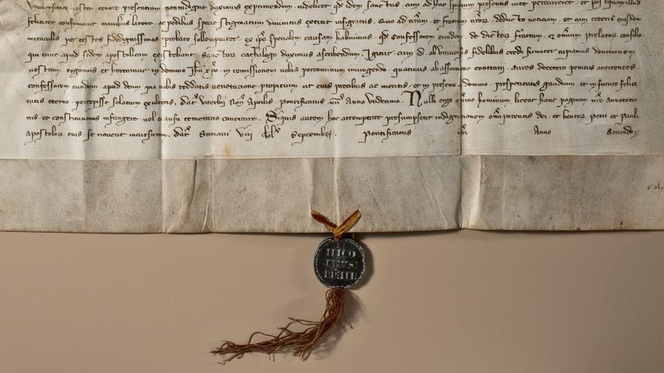 Bulle Papst Nikolaus III. vom 25. August 1279 mit Bestätigung der Glaubwürdigkeit der Stigmata des Franz von Assisi